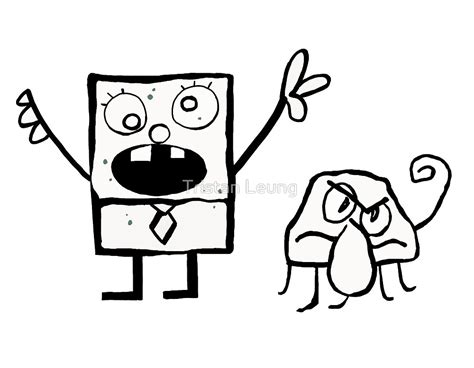 how to draw doodlebob quot doodlebob and squiddle quot by tristan leung redbubble