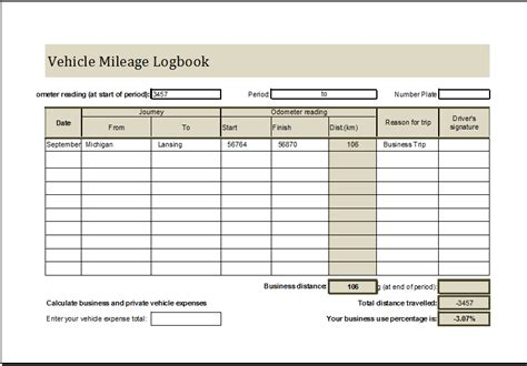 Microsoft Excel Mileage Log Template by Vehicle Mileage Log Book Ms Excel Editable Template