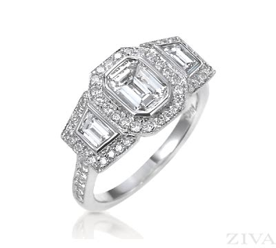 emerald cut engagement ring with trapezoid sides bezel set