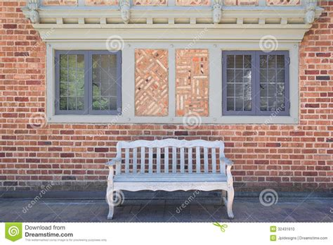 4 X 8 Patio Pavers House Brick Exterior With Wood Bench Stock Photo Image