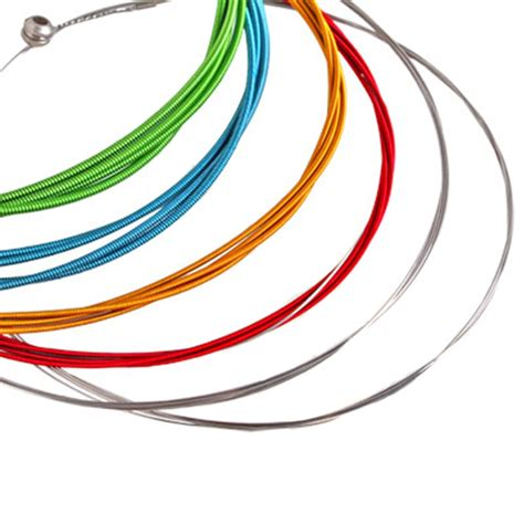 A String Of rainbow colorful color acoustic guitar strings 1m 6pcs