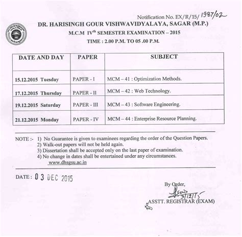 Mba Time Table Davv by Dr Harisingh Gour Sagar Notices