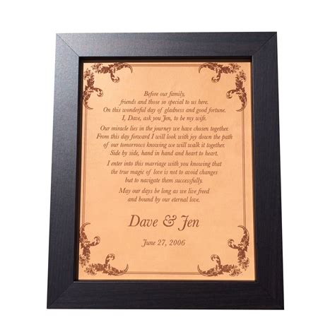 Wedding Vows Anniversary Gift by Wedding Vows Engraved On Leather Leather Anniversary Gift
