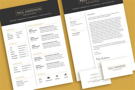 minimal resume cv design template  cover letter
