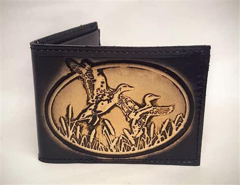 Handmade Leather Wallets Usa - ducks embossed bifold leather wallet leather belts usa