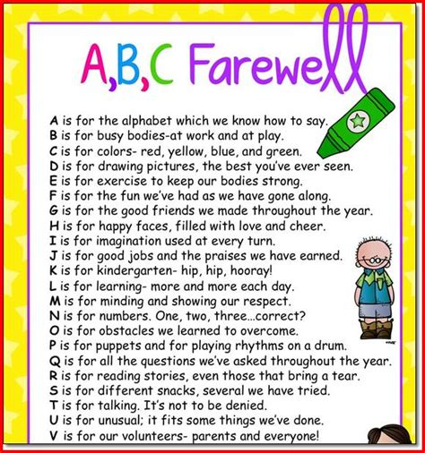 thank you letter to 1st grade preschool graduation poems quotes project edu