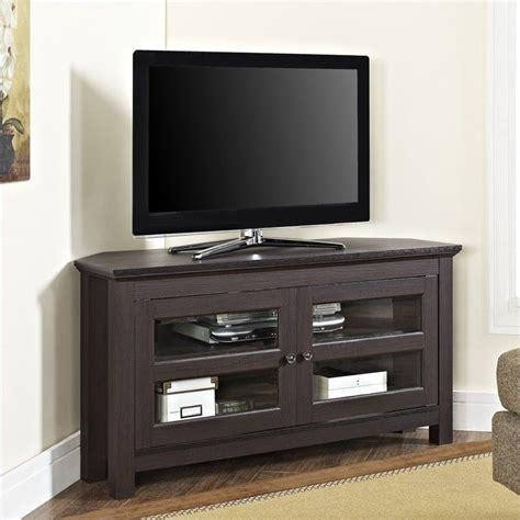 corner tv cabinet espresso 44 quot wood corner tv stand in espresso wq44ccres