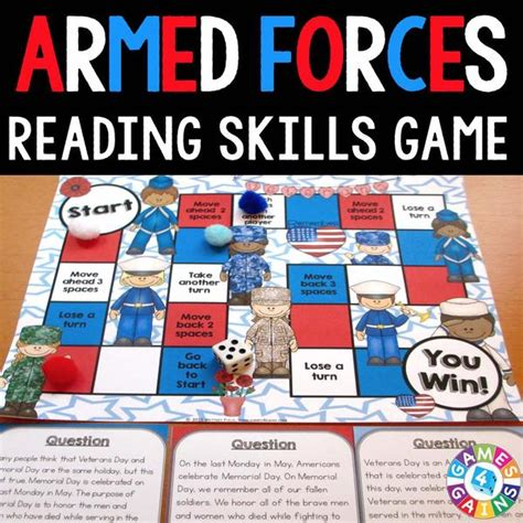 printable reading comprehension board games armed forces reading comprehension board game games 4 gains