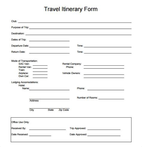 travel itinerary template 5 download documents in pdf