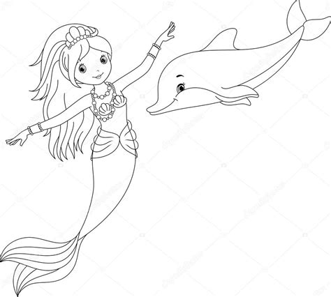 mermaid and dolphin pages coloring pages