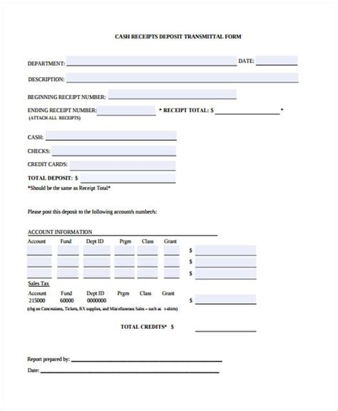 transmittal receipt template 10 receipt form sle free sle exle format