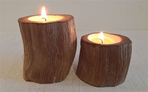Rustic Candle Holders by Oak Pillar Rustic Wood Tealight Candle Holder 2