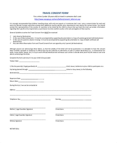 Parent Consent Letter Pdf Sle Travel Consent Forms 10 Free Documents In Pdf Doc