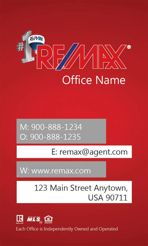 remax business card vertical red design 101443