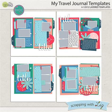 digital scrapbook template my travel journal scrapping