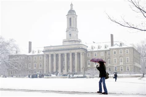 snow blankets the university park cus penn state university petitioners press penn state for more action on climate