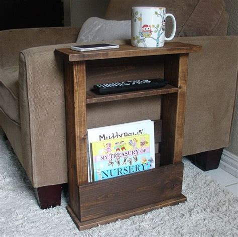 arm table diy sofa chair arm rest table stand with shelf and storage by