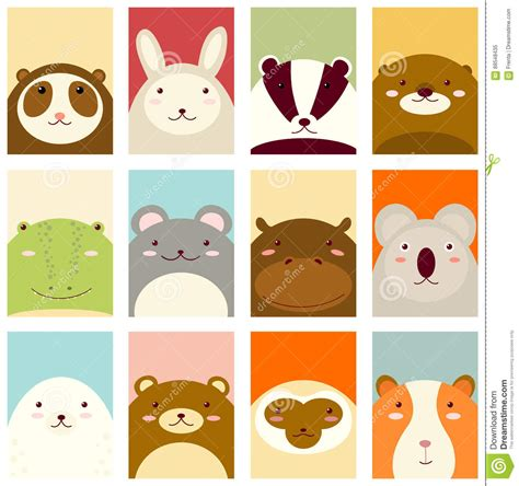 animal small gift cards template set of banners with animals stock vector