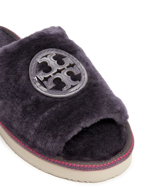 tory burch house shoes tory burch logo patch shearling slippers in purple lyst