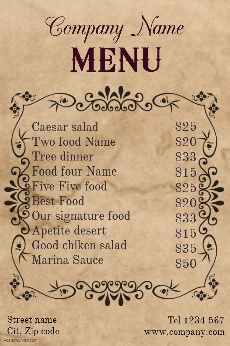 Menu Poster Template by Vintage Restaurant Food Menu Template Postermywall