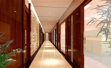 wood floor wall ceiling door interior design 3d 3d house office building corridor design rendering 3d house free