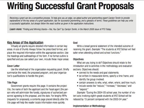 Grant Template For Non Profit Tips For Writing Successful Grant Proposals 3 Pages