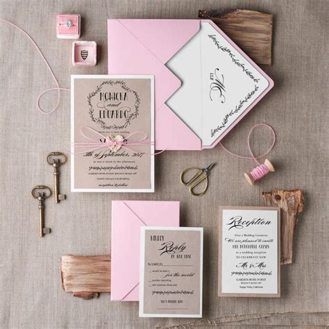 Pink Invitations Wedding by Wedding Invitation Suite 20 Wedding Invitation Rustic