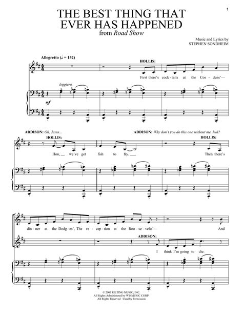 best sheets ever the best thing that ever has happened sheet music by