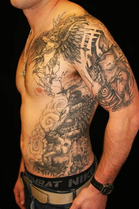 good vs evil tattoo chest www pixshark com images