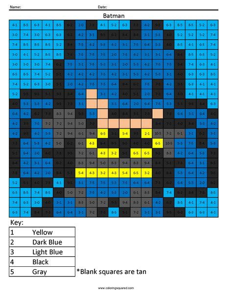 superhero math coloring page batman subtraction coloring squared