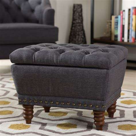 baxton studio modern tufted ottoman baxton studio annabelle modern and contemporary dark grey