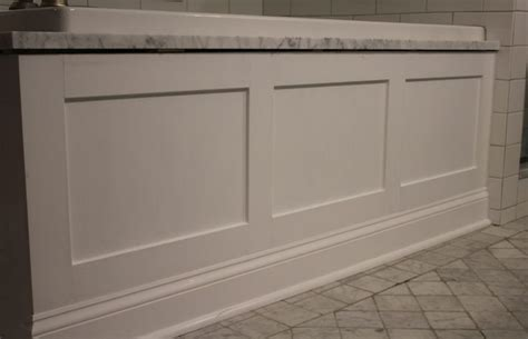 Bathtub Skirt by White Paneled Tub Apron Skirt Bathroom Remodel