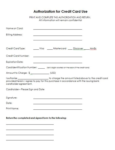 One Time Credit Card Authorization Form Template Authorization For Credit Card Use Free Authorization Forms