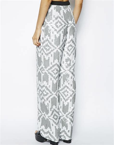 grey patterned trousers asos patterned sequin wide leg trousers in gray lyst