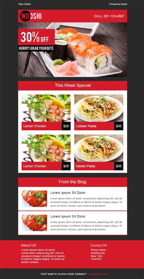 7 Free Responsive Email Templates Email Design Pinterest Email Templates Free Email Free Restaurant Newsletter Templates