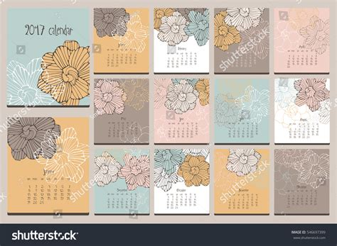 edit doodle calendar floral calendar doodle flowers stock photo