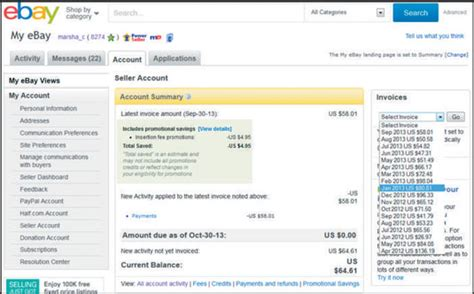 Ebay Seller Account | the seller account section of your my ebay page dummies