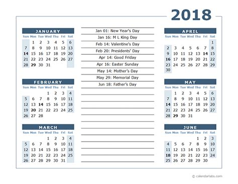 Calendar 2018 2 Months Per Page 2018 Calendar Template 6 Months Per Page Free Printable