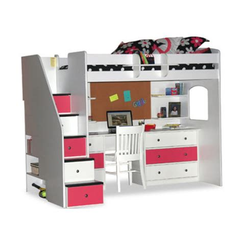 berg utica loft bed with desk and storage