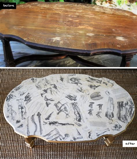 Table Decoupage - decoupage coffee table on refurbished end