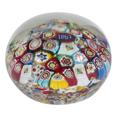 Millefiori L by Colorful Millefiori Glass Paperweight Other Salibello