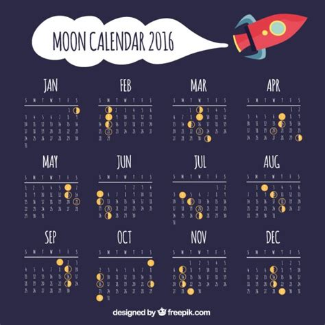Moon Calendar Moon Calendar With Space Ship Vector Premium