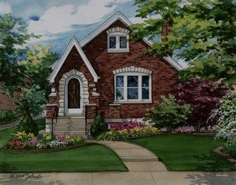 watercolor custom house portrait of brick Tudor in St