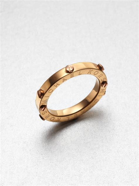 michael kors rivet accented ring gold tone in gold