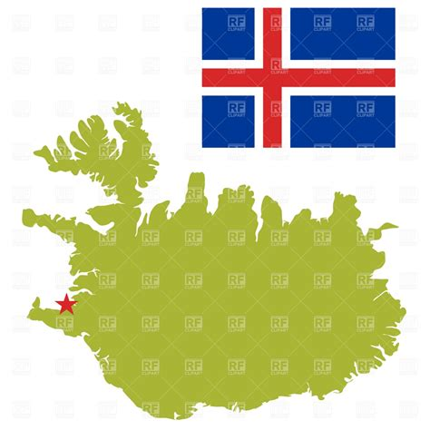 iceland map vector iceland map outline and flag vector image 856 rfclipart