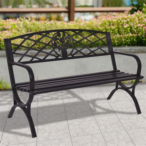 50 quot patio black decent garden bench outdoor benches