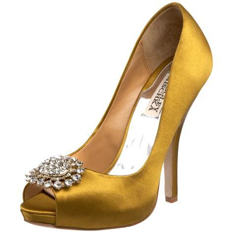 Chic gold peep toe bridal heels   OneWed.com