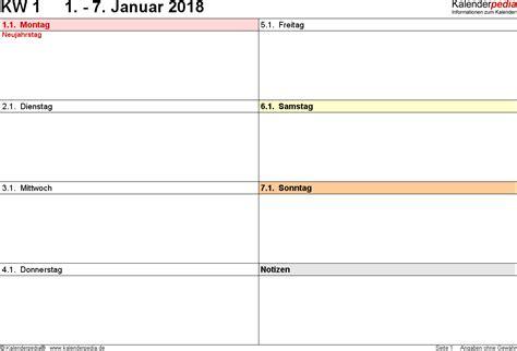 Kalender 2018 Zum Ausdrucken Eine Seite Wochenkalender 2018 Als Word Vorlagen Zum Ausdrucken