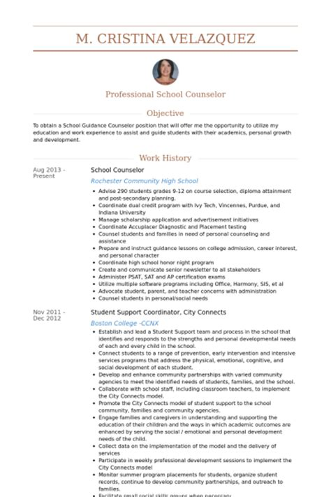 school counselor objectives resume
