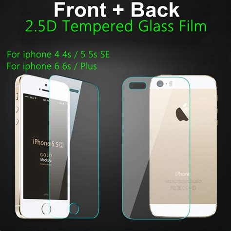 Iphone 5 5s 6 6s 6plus Temperedglass Screen Guard Anti Glare Protector front back rear 2pcs 9h screen tempered glass screen protector for iphone 4 4s 5 5s